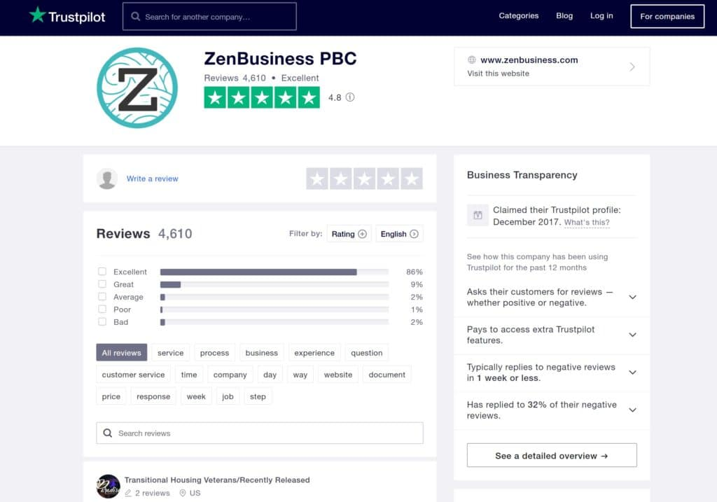 Verified ZenBusiness Trustpilot reviews January 2021